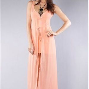 Unif chiffon maxi wrap dress